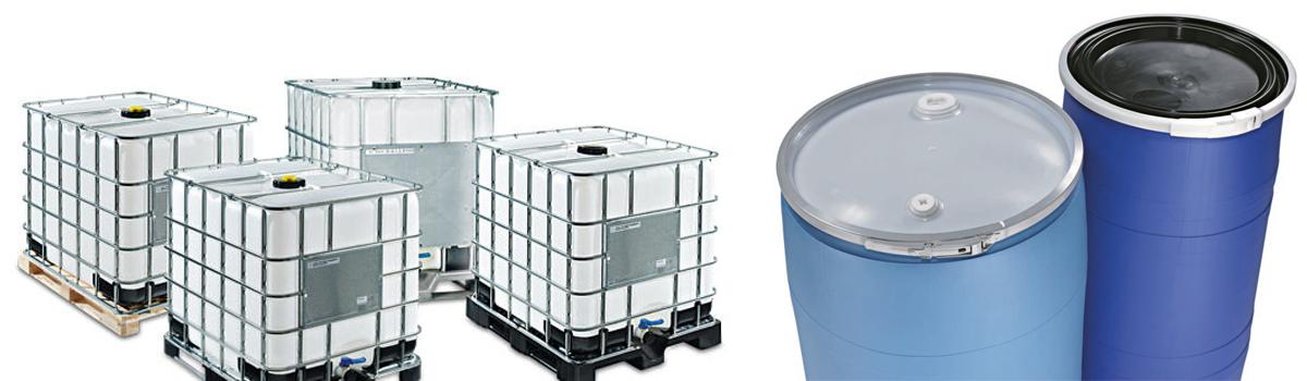 Contenedores de plástico tipo tote (IBC's) y tambos de plástico de Recoenvases en México.
